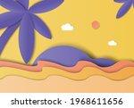 landscape paper art  island and ...   Shutterstock .eps vector #1968611656