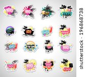 summer party labels and... | Shutterstock .eps vector #196868738