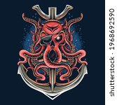 pirate octopus with a one eyed... | Shutterstock .eps vector #1968692590