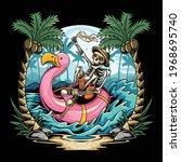 skulls on flamingos floats on... | Shutterstock .eps vector #1968695740