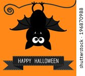 cute bat and black ribbon.... | Shutterstock . vector #196870988
