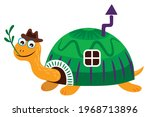 land turtle in a hat with a... | Shutterstock .eps vector #1968713896