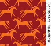 seamless pattern. horses. red... | Shutterstock .eps vector #1968727789