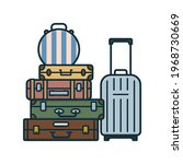 stack of suitcases with a hat...   Shutterstock .eps vector #1968730669