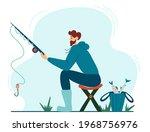 young fisherman fishing. young...   Shutterstock .eps vector #1968756976