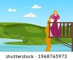beautiful princess on balcony...   Shutterstock .eps vector #1968765973