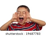 5-year-old hispanic boy shouting - stock photo