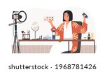 beauty blogger recording makeup ... | Shutterstock .eps vector #1968781426