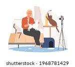 vet blogger sitting in front of ...   Shutterstock .eps vector #1968781429