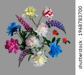 Floral Collage Isolated On Grey ...