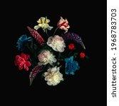 Floral Collage On Black...