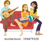 illustration of teenage friends ... | Shutterstock .eps vector #196879220