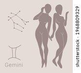 gemini zodiac sign  hand drawn...   Shutterstock .eps vector #1968809329