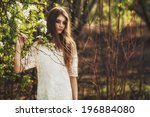 beautidul brunette woman... | Shutterstock . vector #196884080