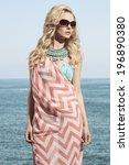 charming blonde girl posing in... | Shutterstock . vector #196890380