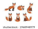 set of isolated cute foxes....   Shutterstock .eps vector #1968948979