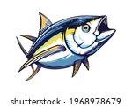 Tuna Big Fishing On White Logo...