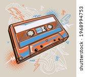 colorful drawn audio cassette... | Shutterstock .eps vector #1968994753
