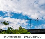 Tv Antenna With Silhouette Two...