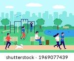 people gathering in city urban... | Shutterstock .eps vector #1969077439