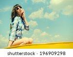 outdoor closeup summer portrait ... | Shutterstock . vector #196909298