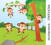Monkeys In The Jungle. A Group...