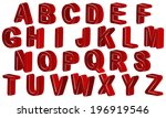 english red alphabet 3d on a... | Shutterstock .eps vector #196919546