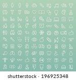 set of 100 minimal modern white ... | Shutterstock .eps vector #196925348