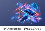 web develop mobile app ... | Shutterstock .eps vector #1969327789