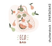 net eco bag. reusable textile... | Shutterstock .eps vector #1969365643