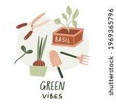 green vibes vector hand drawn... | Shutterstock .eps vector #1969365796
