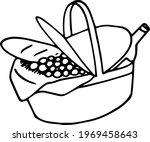 single element of picnic basket ... | Shutterstock .eps vector #1969458643