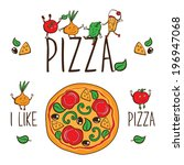 pizzeria. i like pizza. vector... | Shutterstock .eps vector #196947068