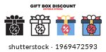 gift box discount icon set with ...