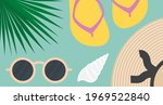summer composition  palm leaf ... | Shutterstock .eps vector #1969522840