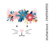 Cute Cat Face Cartoon Vector...