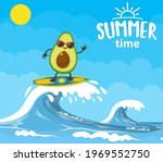 avocado characters surfing on...   Shutterstock .eps vector #1969552750