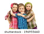 cute fashion kids hugging each... | Shutterstock . vector #196955660