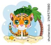 Cartoon Tiger Hula Dancer On...