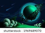 a cosmic landscape with comets... | Shutterstock .eps vector #1969689070
