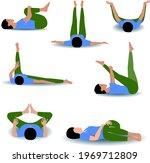 yoga poses practising. stick...   Shutterstock .eps vector #1969712809