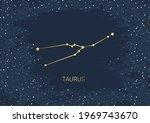 hand drawn card of gold taurus  ... | Shutterstock .eps vector #1969743670