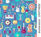 seamless musical pattern. flat...   Shutterstock .eps vector #196974830