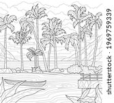 palm trees by the sea. coloring ... | Shutterstock .eps vector #1969759339