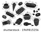 fast food black glyph set.... | Shutterstock .eps vector #1969815256