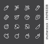 vegetable vector white icon set ... | Shutterstock .eps vector #196983308