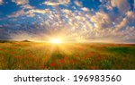 fields of poppies at sunrise   Shutterstock . vector #196983560