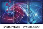 three thin white frames with... | Shutterstock .eps vector #1969866820