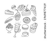 dessert doodels hand drawn...   Shutterstock .eps vector #1969877419