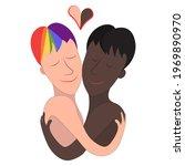 two gay men  black and white....   Shutterstock .eps vector #1969890970